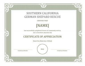 Earn your  Certificate of Appreciation by helping animals.