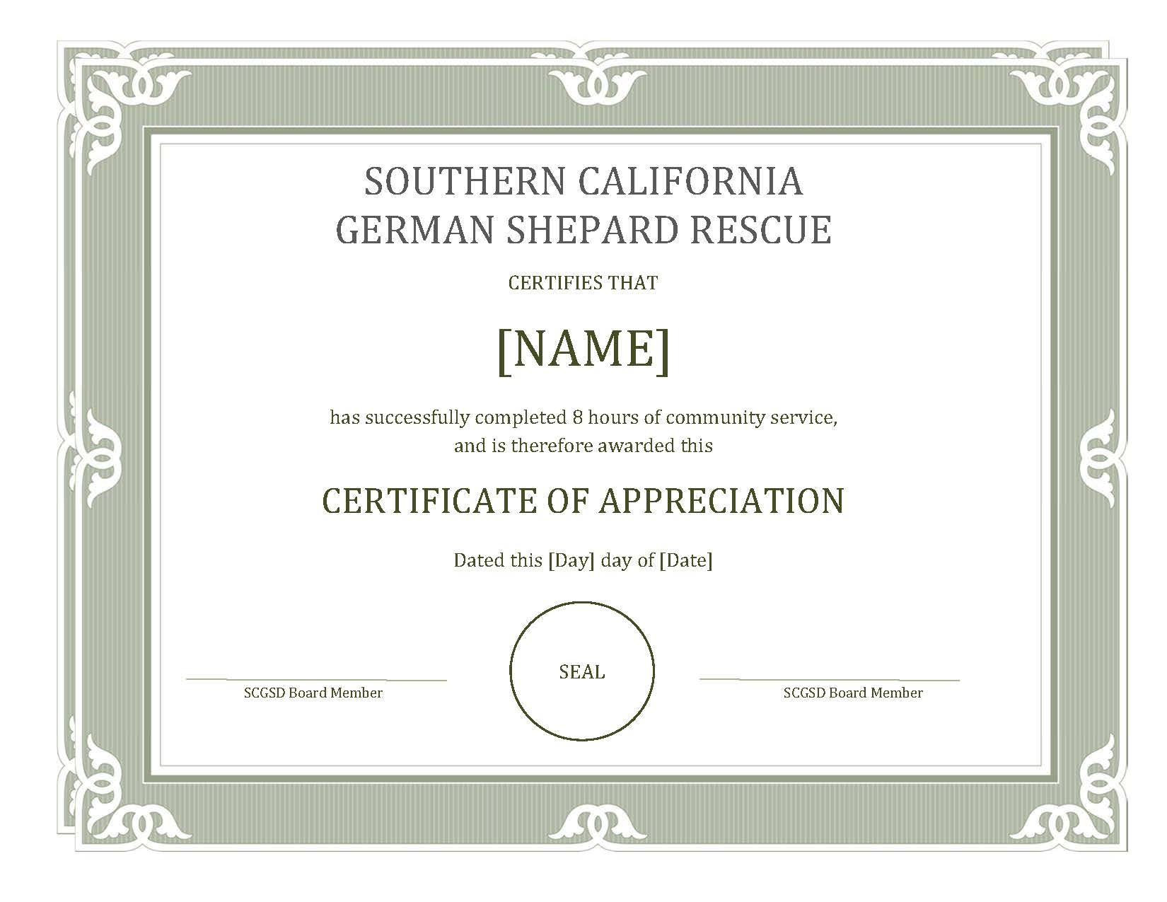 Community service for students southern california german earn your certificate of appreciation by helping animals 1betcityfo Choice Image